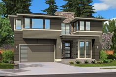 Modern Front Elevation Plan #132-225 - Houseplans.com. 3105, 4 bdr, 3 baths, huge upstairs family room.