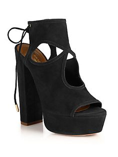 Aquazzura Sexy+Thing+Cutout+Suede+Tie-Back+Platform+Sandals