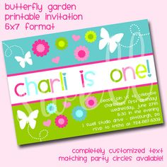 Butterfly Garden DIY Printable Party Invitation by oneswellstudio, $12.50