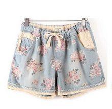 2015 mulheres marca de verão Shorts jeans com estrela impresso Floral de cintura alta elástico para mais de corte(China (Mainland))