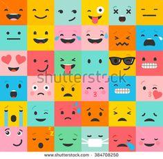 Set of colorful emoticons, emoji flat backgound pattern - stock vector
