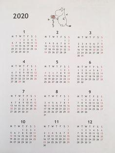 Planner Pages, Printable Planner, Free Printables, Cute Calendar, Print Calendar, Memo Notepad, Bullet Journal Art, Moomin, Planner Organization