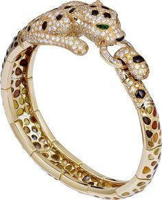 High Jewelry Panthère de Cartier bracelet yellow gold, enamel, brown jasper, diamonds and emeralds. Cartier Armband, Cartier Bracelet, Cartier Jewelry, Enamel Jewelry, Diamond Bracelets, Ankle Bracelets, Diamond Jewelry, Jewelery, Jewelry Bracelets