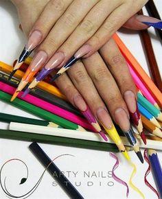 Nail art from the NAILS Magazine Nail Art Gallery, mixed media, pen box, Crazy Nail Art, Crazy Nails, Weird Nails, Nail Designs Tumblr, Simple Nail Art Designs, Pencil Nails, Pointed Nails, Stiletto Nails, Nail Time