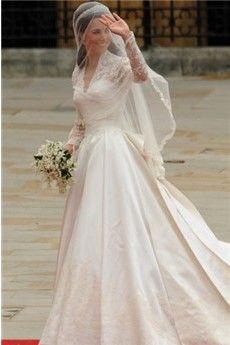 A-Line/Princess V-neck Cathedral Train Satin Wedding Dress