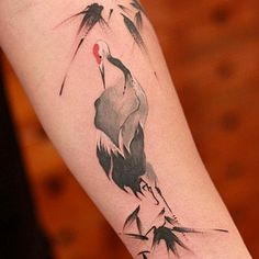 Crane watercolor artwork by Chen Jie 陈洁 @newtattoo in Beijing, China