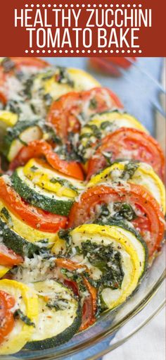Healthy Zucchini Tomato Bake This Healthy Zucchini Tomato Bake recipe is an easy way to use up all your summer vegetables Fresh healthy and full of flavor- it s the perfect side dish healthy glutenfree zucchini Veggie Side Dishes, Healthy Side Dishes, Vegetable Sides, Side Dish Recipes, Food Dishes, Tomato Dishes, Vegetable Dish, Healthy Sides, Baked Vegetables