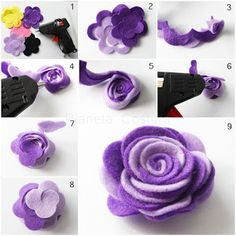 Diy Crafts - RibbonFlowerbouquet,RibbonFlowereasy-tutorial how to make flower felt fabric tutorial come fare fiore stoffa feltro 19 tutorial how Felt Flowers, Diy Flowers, Fabric Flowers, Paper Flowers, Felt Roses, Flower Ideas, Felt Crafts Patterns, Fabric Crafts, Diy Crafts