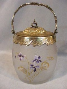 RARE VICTOR SAGLIER & MONT JOYE FRENCH CAMEO ART GLASS BISCUIT JAR - PANSIES