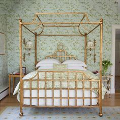 exquisite gold-leaf canopy bed in the home of designer Annie Selke #bedroom #canopy #bed