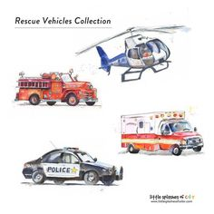 Rescue Vehicles Prints Set of 4 Fire Truck Print Police Car Print Helicopter Print Ambulance Print - Children's Wall Art Boys Room transportation vehicles nursery wall decor boys nursery wall art Fire Truck Bedroom, Life Flight, Home Rescue, Childrens Wall Art, Rescue Vehicles, Boys Room Decor, Boy Room, Kids Bedroom, Police Cars