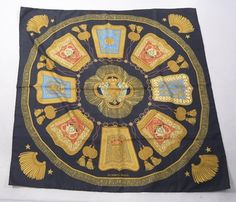 Hermes Authentic Hermes Black & Gold Multi-Color Coat of Arms Silk Scarf