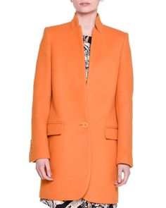 Bryce Single-Button Melton Coat, Mandarin