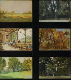 Ottavio Mazzonis Composizione di n. 6 Paesaggi 1944/ 1968/ 1969/1970 olio su cartone e olio su tavoletta, pannello 73.5 x 80.85 cm. - singolo dipinto 19.3 x 28.4 cm. Fondazione Ottavio Mazzonis