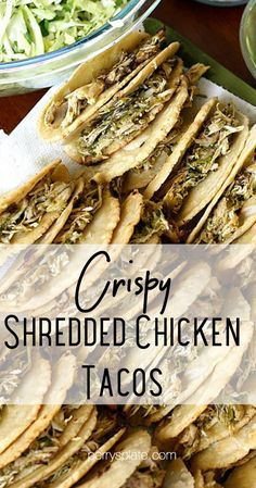 Make restaurant-style crispy shredded chicken tacos right at home! They're especially good with homemade corn tortillas and lots of avocados! | perrysplate.com #chickentacos #chickenrecipes #tacorecipes Best Paleo Recipes, Best Chicken Recipes, Whole 30 Recipes, Free Recipes, Favorite Recipes, Crispy Shredded Chicken, Slow Cooked Chicken, Oven Baked Chicken, Homemade Corn Tortillas