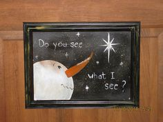 Primitive Handpainted Snowman Picture by CranberryCornstalk