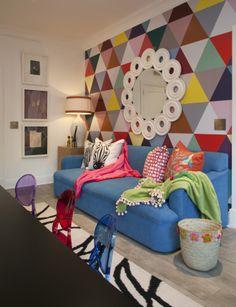 Michele Throssell Interiors > Kids Room > Custom Wallpaper > Geometric > Ghost Chair > Pops of Color > Kartell