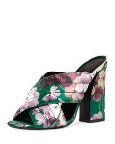 Webby+Floral-Print+110mm+Sandal,+Bright+Emerald+by+Gucci+at+Neiman+Marcus.