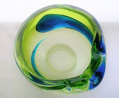 Spectacular SPECIAL Mid Century MODERN Art GLASS Ashtray or BOWL Rare SCULPTURE  #MidCenturyModern