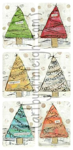 Art by Erin Leigh: More Christmas Mixed Media Collage Art