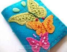 Beaded Butterlies felt covered journal  handmade