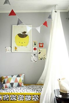 Gray walls and bright colors