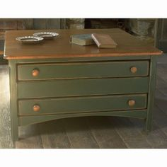 Southern Pine Square Shaker Table w/3 Drawers