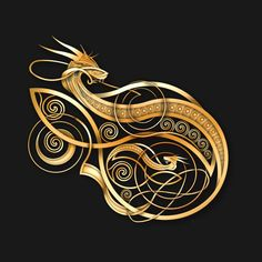 Check out this awesome 'Gold+Norse+Dragon' design on @TeePublic!