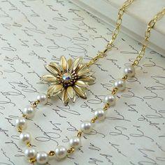 repurposing vintage jewelry | Asymmetric Necklace - Repurposed Vintage Jewelry