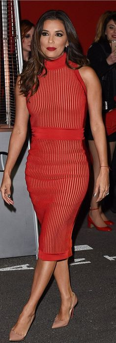 Eva Longoria: Shoes – Christian Louboutin  Dress – Balmain