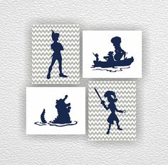 Disney silhouette, Peter Pan Silhouette, Captain Hook Stencil, Chevron, Gray, Navy Blue, Set 4-8x10, Instant download