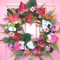 Tropical Floral Wreath - 2013 - #tropicalwreaths #floralwreaths #springwreaths #tropicalflowerwreaths