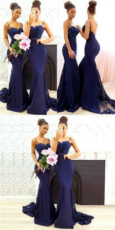 Mermaid Spaghetti Straps Lace&Satin Navy Blue Long Cheap Bridesmaid Dresses Online, - My girl likes to party all the time - Wedding Dresses Navy Blue Bridesmaid Dresses, Mermaid Bridesmaid Dresses, Navy Bridesmaid Dresses, Wedding Dresses 2018, Mermaid Dresses, Wedding Bridesmaids, Royal Blue Bridesmaids, Prom Dresses, Bridesmade Dresses