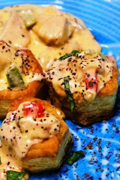 """Chicken à la King - dating back to the late 1800's, this is one of the ultimate """"comfort food"""" recipes with diced chicken in a spiced sherry cream sauce! Yum! Step-by-step photos. Great over puff pastry cups, a nice crusty crostini, or even pasta!"""