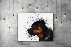 Rottweiler Art, Watercolor Dog Lover Gift, Pet Portrait Painting Of Dog Print, Black Dog Art Print, Pet Art Animal Lover Gift Watercolor Art by PRINTANDPROUD on Etsy