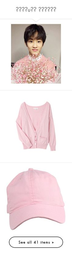 """˙ɹǝʇuıʍ ʇǝʌןǝʌ"" by jaethighs ❤ liked on Polyvore featuring tops, cardigans, outerwear, jackets, women, cardigan top, knit top, pink knit cardigan, knit cardigan and pink top"