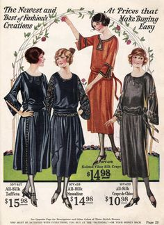 "History of 1920s Day Dresses for Public Outings- Fall colors of 1922 day dresses and minimal trim. Wide sashes and fuller skirts are in style with the early 20s. Also sporting ""bell"" sleeves."