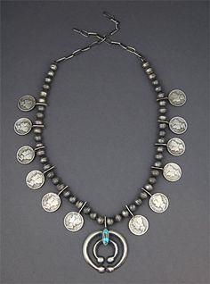 Oh wow!! I want this beautiful sterling silver & turquoise squash blossom necklace with 1940's Liberty dimes. Artist is Mildred Parkhurst (Navajo). Authentic Native American jewelry.