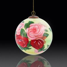 This hand-painted glass ornament captures the intense beauty and masterful technique of the original Pierre-August Renoir's Discarded Roses. The art of decorating glass ornaments and bottles from the inside has been a Chinese tradition for centuries. This delicate process is unique and requires unprecedented levels of craftsmanship, talent, and experience. Today, we've made exquisite works of Hengshui Neihua painting available to you through our selection of detailed and beautiful decorative orn Ball Ornaments, Diy Ornaments, Beautiful Pink Roses, Classic Artwork, Pierre Auguste Renoir, Glass Ball, Hand Blown Glass, Christmas Bulbs, Christmas Crafts