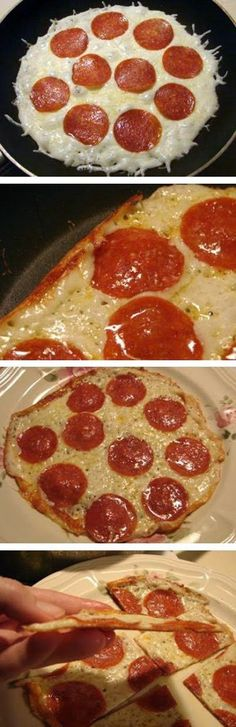 Skillet Pizza - Just toppings!  No crust! = NO carbs!   Needed:     Mozzarella Cheese,     Toppings of Choice,     10 inch non-stick skillet