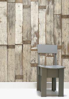 Behang met sloophoutpatroon. Lijkt net echt! #wood #wallpaper