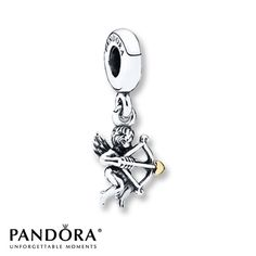 Pandora Dangle Charm Cupid Sterling Silver/14K Gold- This is a Jared's Exclusive from the Pandora Valentine 2014 Collection. I LOVE this charm because it's so detailed and darling but the cupid's wings are sharp and he catches on everything. My cupid has put runs in scarves and two pin-size holes in a brand new pair of yoga pants. I laughed but you definitely have to be careful when wearing this charm. Cupid WILL get you! <3