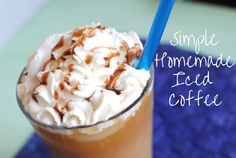Simple Homemade Iced Coffee ~ No need for a run to McDonald's, Starbucks, or that fancy coffee shop around the corner when you have this SUPER easy recipe.