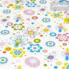 jubelis® Classic Wachstuch mit Vlies bunte Blumen Flower Power