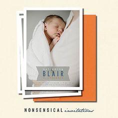 Birth Announcement. Baby boy. Baby girl. 5x7 single sided. Custom Design. Photo. Blue, orange, white. Nonsensical Invitation. Blair design.