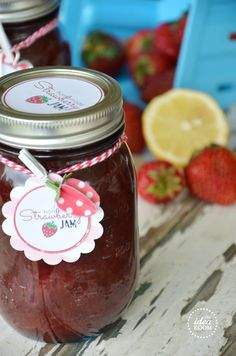 Strawberry Jam & printables for peach, grape & raspberry!  So cute