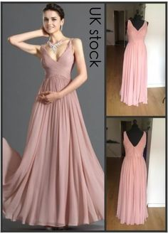 dusky pink prom/evening/wedding bridesmaid dress size 8-22 £45 ebay