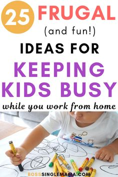 Working from home with kids can be challenging and sometimes, you need activities to keep kids occupied. Learn 25 fun and frugal ideas for keeping kids busy so you can get work done. Frugal Family, Family Budget, Work From Home Moms, Make Money From Home, Lamaze Classes, Business For Kids, Working Moms, Kids House, Parenting Advice