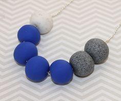 Cobalt Blue and grey granite polymer clay bead necklace | Red Raspberry | madeit.com.au