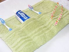 Terry cloth toothbrush carrier. Machine washable! Great to pack in the hospital bag.